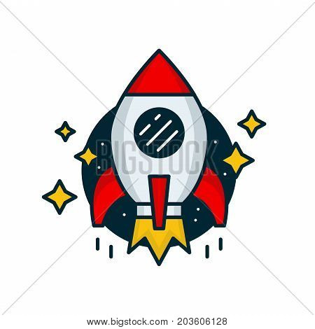 Red retro rocket fly in space. Vector modern line outline flat style cartoon illustration icon. Isolated on white background