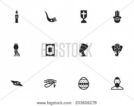 Set Of 12 Editable Faith Icons. Includes Symbols Such As Fire Wax, Eye On Hand , Egypt God
