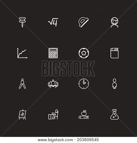 Set Of 16 Editable Science Outline Icons. Includes Symbols Such As Student, Male, Encyclopedia And More