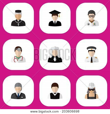 Set Of 9 Editable Job Flat Icons. Includes Symbols Such As Graduate, Lawyer, Padre And More