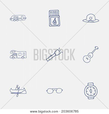 Set Of 9 Editable Camping Doodles. Includes Symbols Such As Camper, Caravan, Flashlight And More