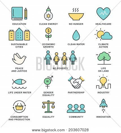Sustainable Development Goals and Sustainable Living Implementation Concept Line Art Vector Icons.