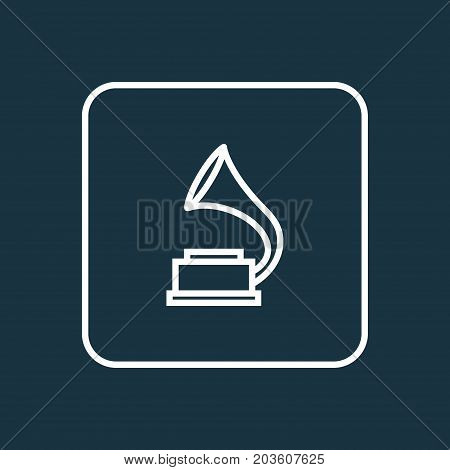 Premium Quality Isolated Phonograph Element In Trendy Style.  Gramophone Outline Symbol.