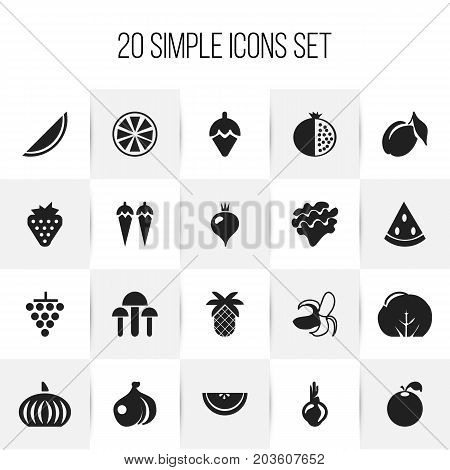 Set Of 20 Editable Berry Icons. Includes Symbols Such As Citrus, Lemon, Berry And More