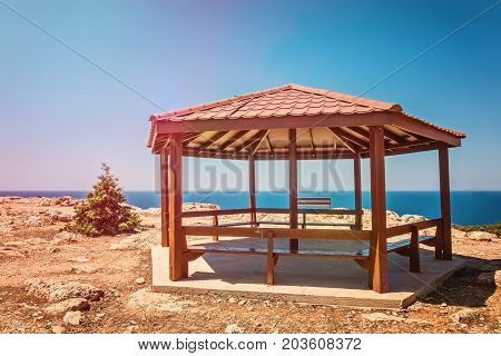 Seascape in Cyprus Ayia Napa, Cape Greco peninsula, picturesque view of Mediterranean Sea, Kavo Greco, national forest park
