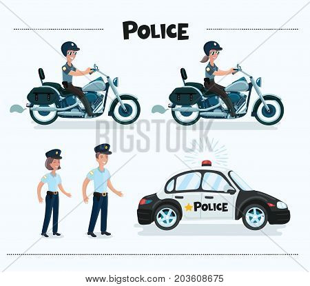 Vector cartoon funny set illustration of colorful vector policeman, police woman, policecar, police motorcycle. Isolated on white background