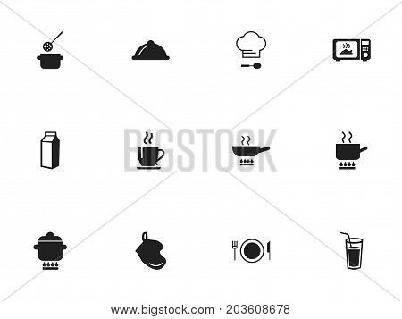 Set Of 12 Editable Cooking Icons. Includes Symbols Such As Stewpot, Coffee, Chef Cap And More