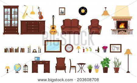 Big realistic Set of home interior setting elements for home design. Bookcase, mirror, flowers, picture, tables, guitar, desk, lamp, cache pot, globe, laptop, locker, clocks, fireplace. For decoration