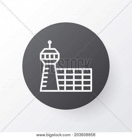 Premium Quality Isolated Airport Building Element In Trendy Style.  Aerodrome Icon Symbol.