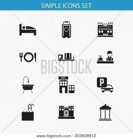 Set Of 12 Editable Plaza Icons. Includes Symbols Such As Hotel, Shower, Entrance And More