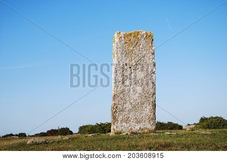 Standing stone in the swedish world heritage at the southern part of the island Oland