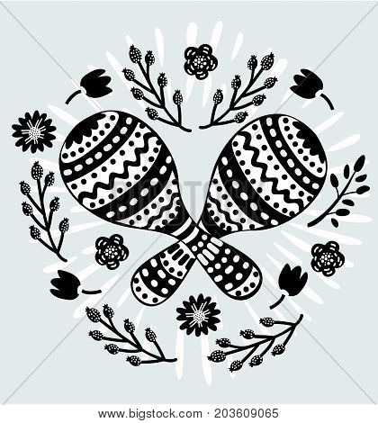 Vector cartoon illustration of maracas icon in black and white color. Image in vintage style and decorated with flower