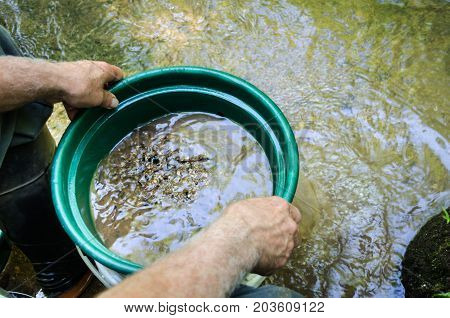 Gold panning and gem mining. Classifier used to sift dirt, rocks and sand to prepare for gold panning and gem mining. Fun and adventure in recreational outdoor activity of prospecting for gold and gemstones.