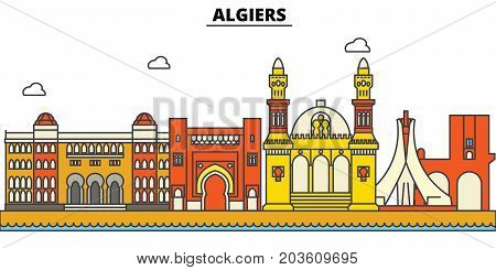 Algeria, Algiers. City skyline: architecture, buildings, streets, silhouette, landscape, panorama, landmarks. Editable strokes. Flat design line vector illustration concept. Isolated icons