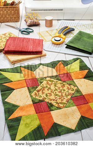 Patchwork orange-green block quilting fabrics sewing accessories
