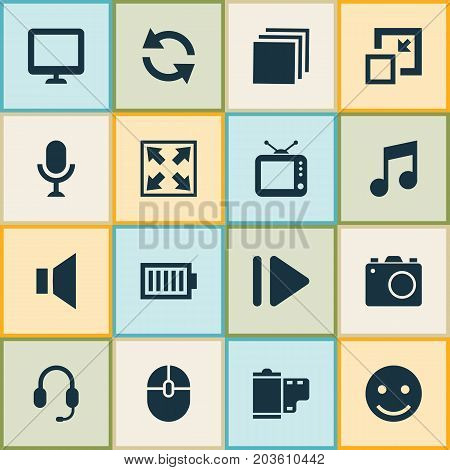 Music Icons Set. Collection Of Musical Note, Synchronize, Camera And Other Elements