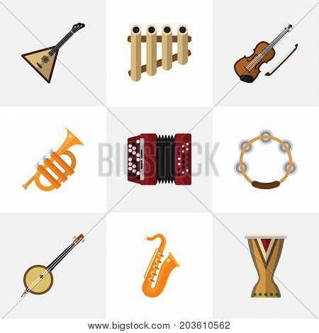 Set Of 9 Editable Mp3 Flat Icons. Includes Symbols Such As Strings, Sax, Timbrel And More