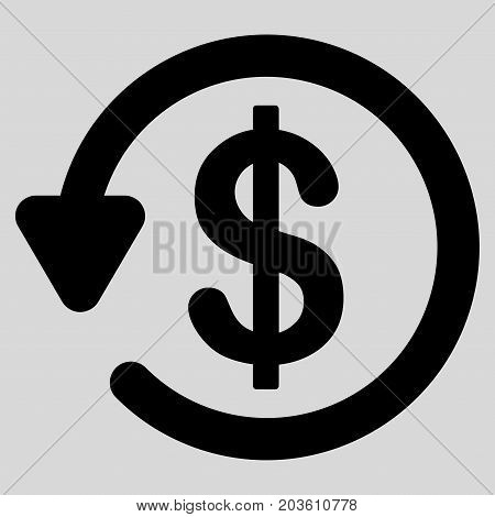 Refund vector icon. Flat black symbol. Pictogram is isolated on a light gray background. Designed for web and software interfaces.