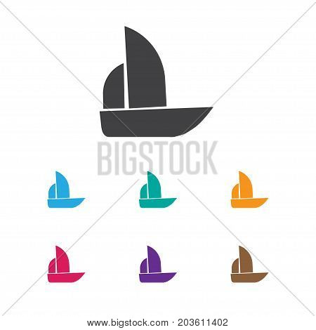 Vector Illustration Of Complicated Symbol On Boat Icon
