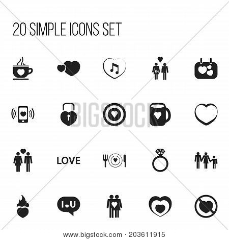 Set Of 20 Editable Heart Icons. Includes Symbols Such As Beloveds, Dishes, Heartbeat And More poster