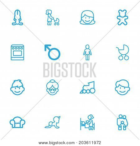 Set Of 16 Editable Kin Outline Icons. Includes Symbols Such As Man Symbol, Doll, Stove And More