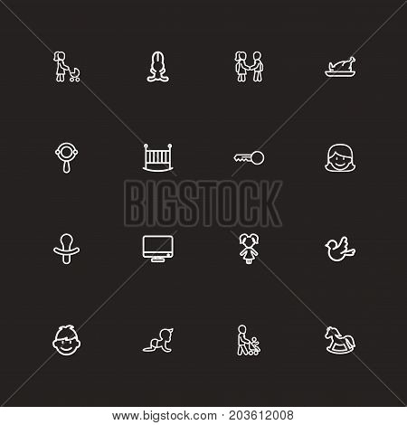 Set Of 16 Editable Folks Outline Icons. Includes Symbols Such As Rattle, Child, Son And More