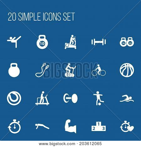 Set Of 20 Editable Lifestyle Icons. Includes Symbols Such As Executing Running, Training Pool, Instruction Male And More