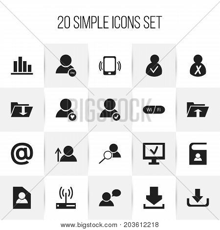 Set Of 20 Editable Network Icons. Includes Symbols Such As Mail Symbol, Document, Magnifier And More