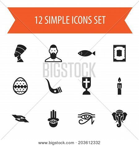 Set Of 12 Editable Religion Icons. Includes Symbols Such As Tusk, Cleopatra, Fire Wax And More