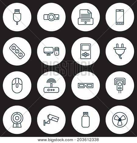 Device Icons Set. Collection Of Cctv, Universal Serial Bus, Printer And Other Elements