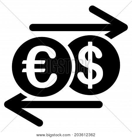 Dollar Euro Exchange vector icon. Flat black symbol. Pictogram is isolated on a white background. Designed for web and software interfaces.