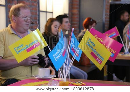 MAGDEBURG, GERMANY - September 10: Flags of the liberal Free Democratic Party of Germany (FDP), during a speech of Christian Lindner,  leader of FDP. German Election 2017.  (Bundestagswahl)