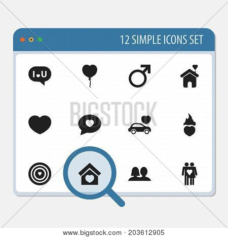 Set Of 12 Editable Amour Icons. Includes Symbols Such As Confession, Male Sign, Couple And More