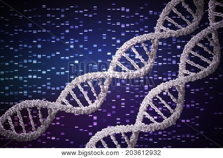 3D rendered illustration of DNA molecules. DNA analysis concept.