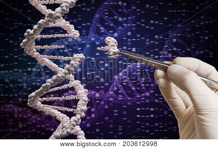Genetic manipulation and DNA modification concept. GMO research.