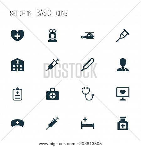 Medicine Icons Set. Collection Of Cap, Stand, Surgical Bag Elements