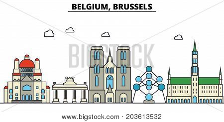 Belgium, Brussels. City skyline: architecture, buildings, streets, silhouette, landscape, panorama, landmarks. Editable strokes. Flat design line vector illustration concept. Isolated icons