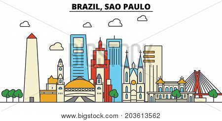 Brazil, Sao Paulo. City skyline: architecture, buildings, streets, silhouette, landscape, panorama, landmarks. Editable strokes. Flat design line vector illustration concept. Isolated icons