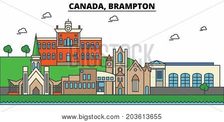 Canada, Brampton. City skyline: architecture, buildings, streets, silhouette, landscape, panorama, landmarks. Editable strokes. Flat design line vector illustration concept. Isolated icons