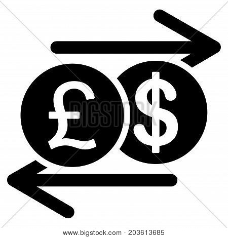 Pound Dollar Exchange vector icon. Flat black symbol. Pictogram is isolated on a white background. Designed for web and software interfaces.