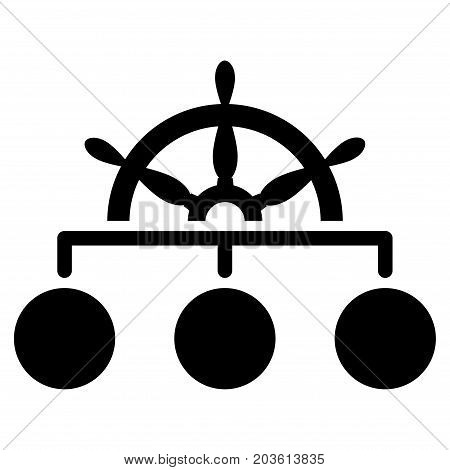 Ship Wheel Hierarchy vector icon. Flat black symbol. Pictogram is isolated on a white background. Designed for web and software interfaces.