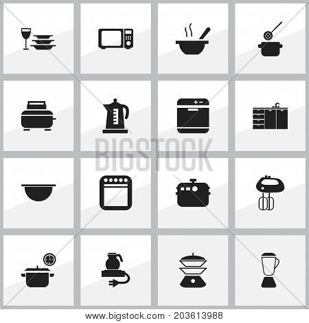 Set Of 16 Editable Restaurant Icons. Includes Symbols Such As Skimmer, Saucepan, Bowl And More