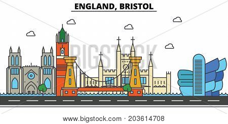 England, Bristol. City skyline: architecture, buildings, streets, silhouette, landscape, panorama, landmarks. Editable strokes. Flat design line vector illustration concept. Isolated icons