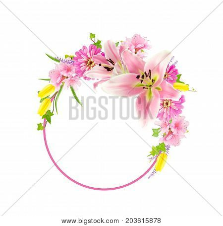 Collage of pink lilies zinnias azaleas and yellow tulips arranged around the arc of a pink circle. Isolated on white with copy space.
