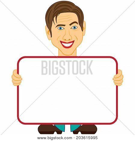 Gentleman Holds A Big Empty Plaque