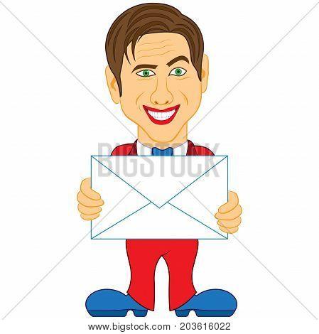 Gentleman Holds A Glued Envelope