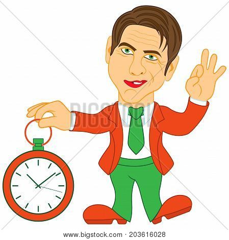 Gentleman Holds A Clock