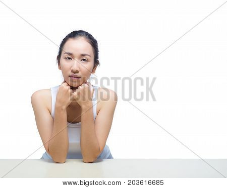 Portrait Of Smile Woman With Hands On Chin.