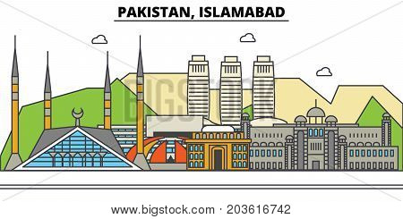 Pakistan, Islamabad. City skyline: architecture, buildings, streets, silhouette, landscape, panorama, landmarks. Editable strokes. Flat design line vector illustration concept. Isolated icons