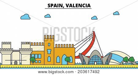 Spain, Valencia. City skyline: architecture, buildings, streets, silhouette, landscape, panorama, landmarks. Editable strokes. Flat design line vector illustration concept. Isolated icons